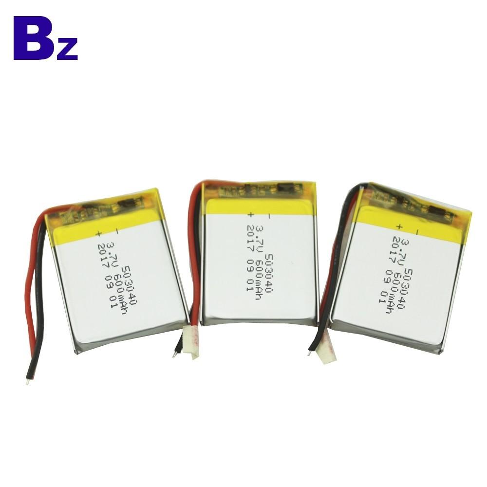 503040 600mAh 3.7V 충전식 리튬 폴리머 배터리
