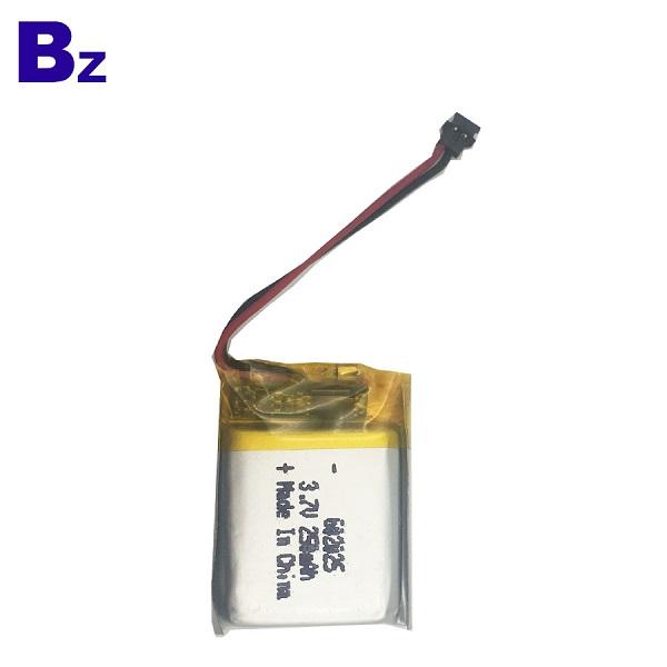 602025 250mAh 3.7 v 충전식 리튬 폴리머 배터리